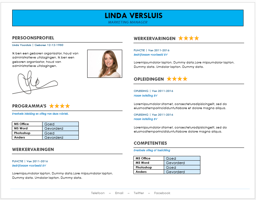 CV Grafische templates